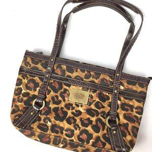 Franco Sarto nylon canvas cheetah shoulder purse